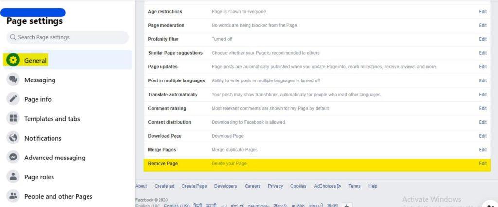 new facebook page delete